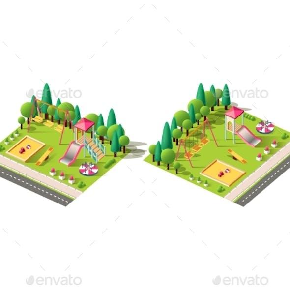 Isometric Set Children Playground