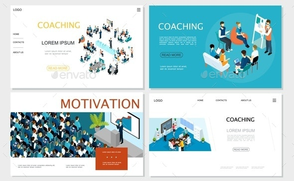 Isometric Business Coaching Websites Set - People Characters