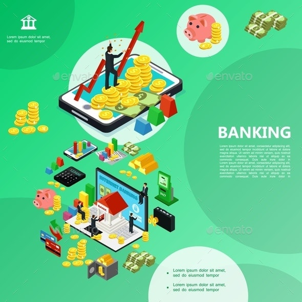 Isometric Internet Banking Template - People Characters