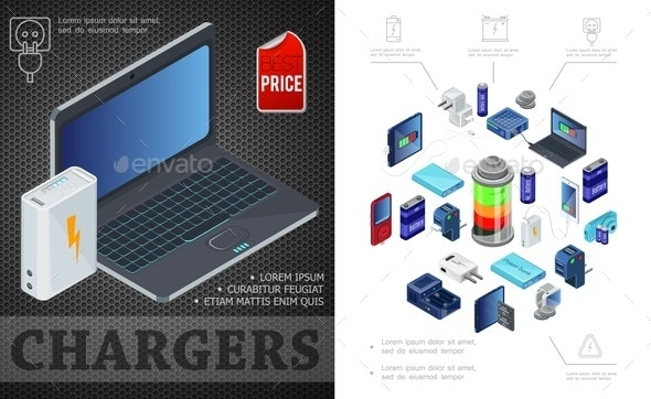 Isometric Sources Of Charging Composition - Technology Conceptual
