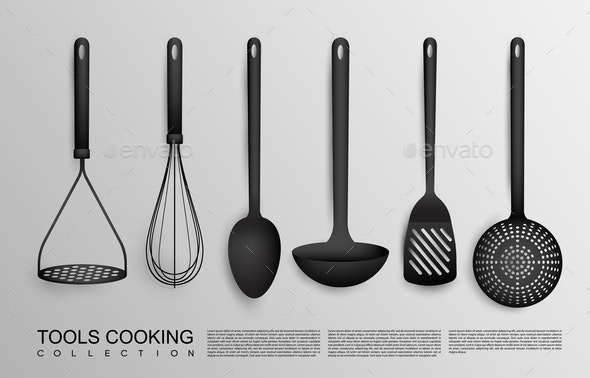 Realistic Black Kitchen Tools Collection - Food Objects