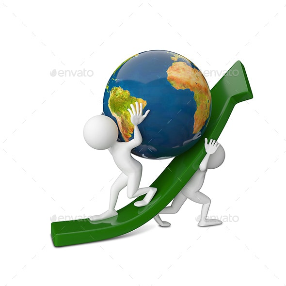 3D Illustration of Two Abstract People Raising a Globe - Characters 3D Renders