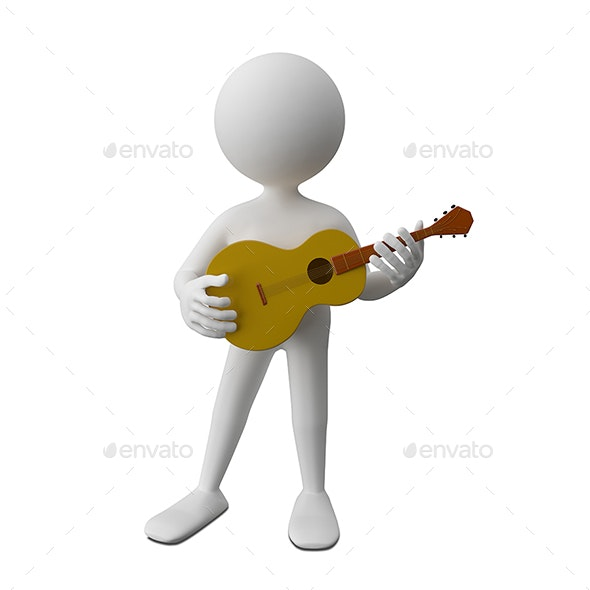 3D Illustration of an Abstract Man with Guitar - Characters 3D Renders