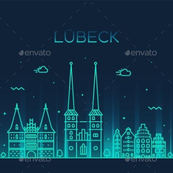 Lubeck Skyline Germany Vector Trendy Linear Style
