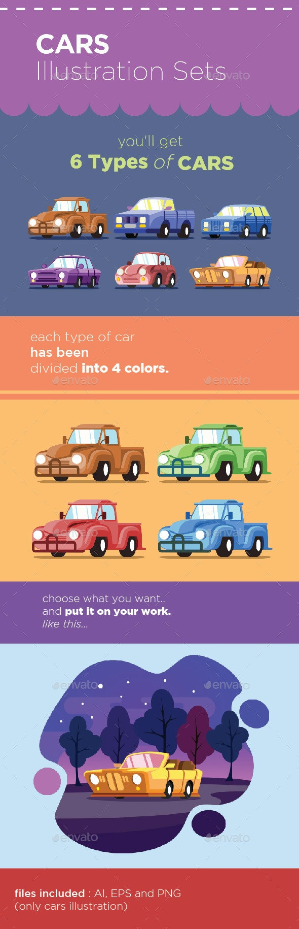 Cars Illustration Set - Man-made Objects Objects