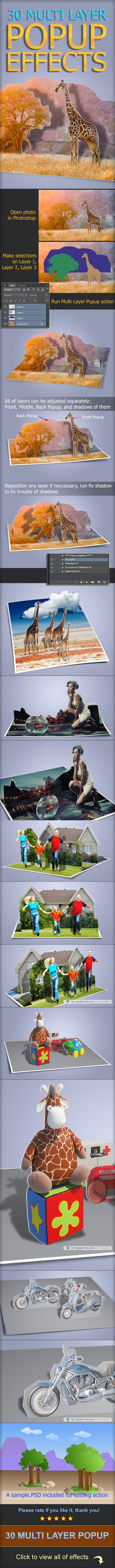 30 Multi Layer Popup Effect - Photo Effects Actions