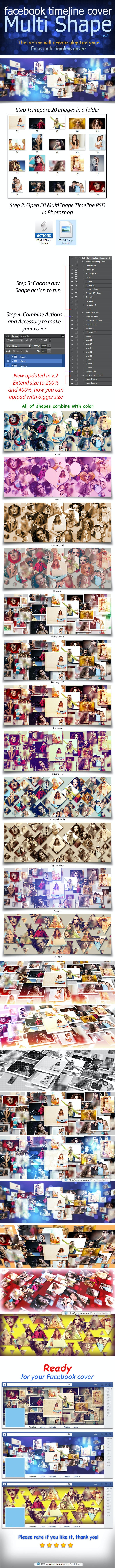 Facebook Multi Shape Timeline - Photo Effects Actions