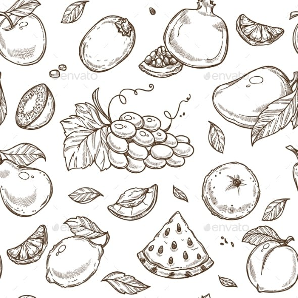 Fruits Sketch Pattern Background