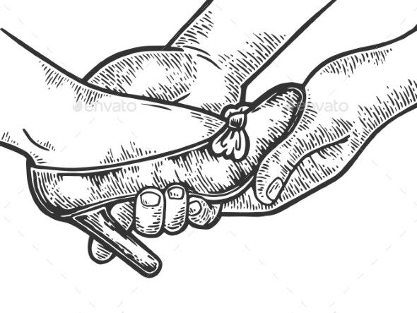 Hands Put on Woman Shoe Engraving Style Vector - Miscellaneous Vectors