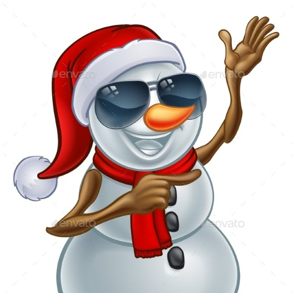 Christmas Snowman in Santa Hat and Sunglasses