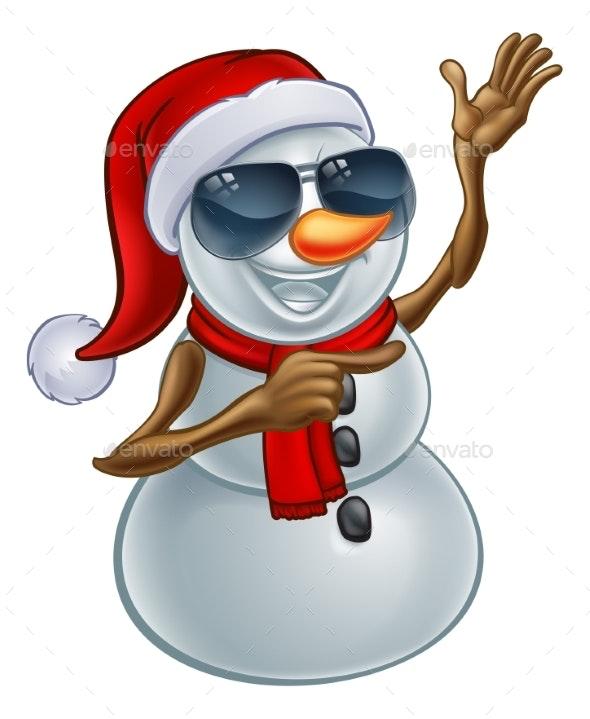 Christmas Snowman in Santa Hat and Sunglasses - Christmas Seasons/Holidays