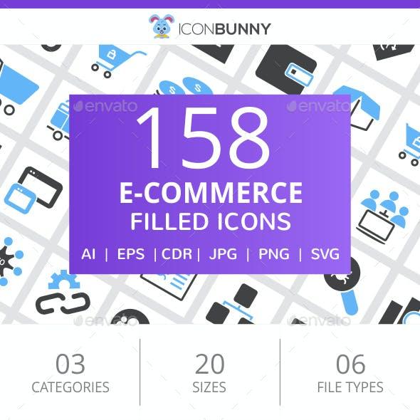 158 E-Commerce Filled Blue & Black Icons