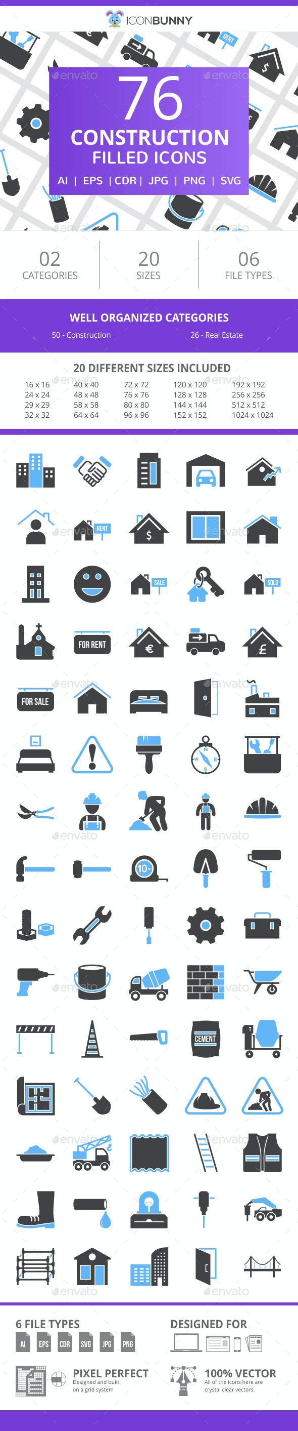 76 Construction Filled Blue & Black Icons - Icons