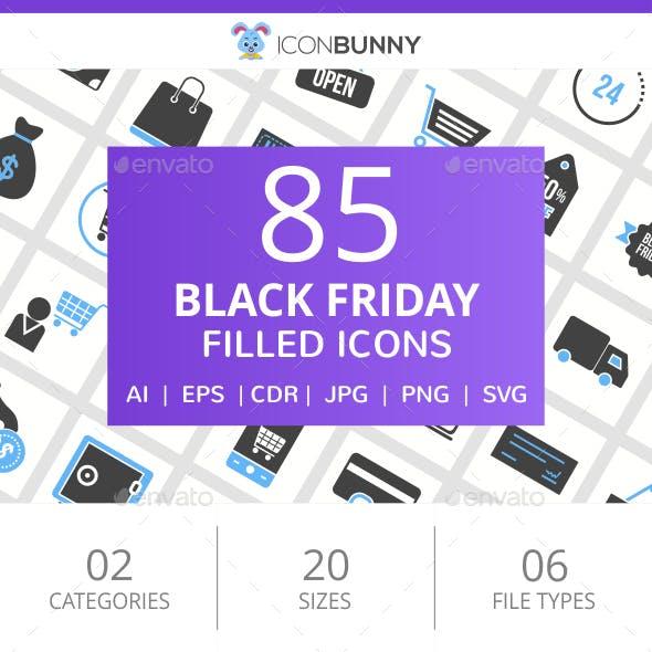 85 Black Friday Filled Blue & Black Icons