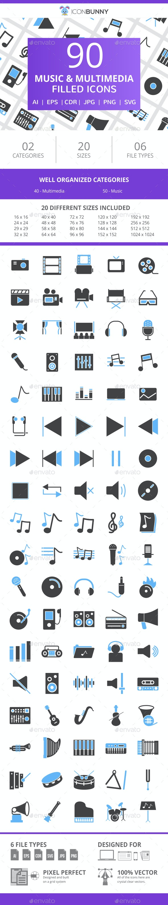 90 Music & Multimedia Filled Blue & Black Icons - Icons