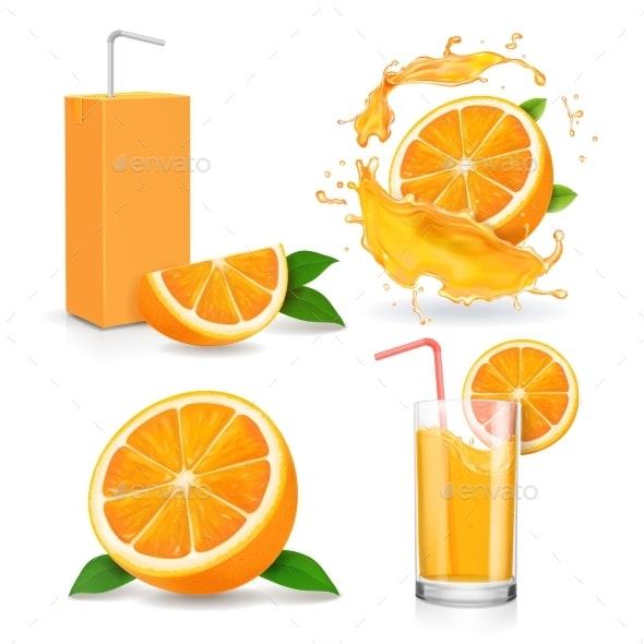 Orange Juice Splashes - Food Objects