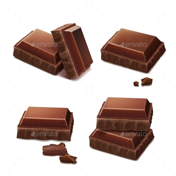 Chocolate Pieces Realistic Illustration - Food Objects
