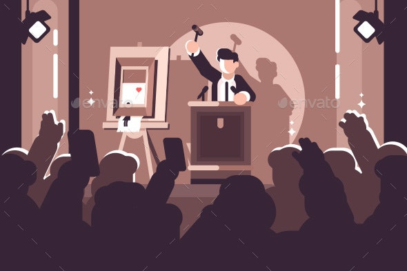 People at Auction of Art Flat Poster - Miscellaneous Vectors