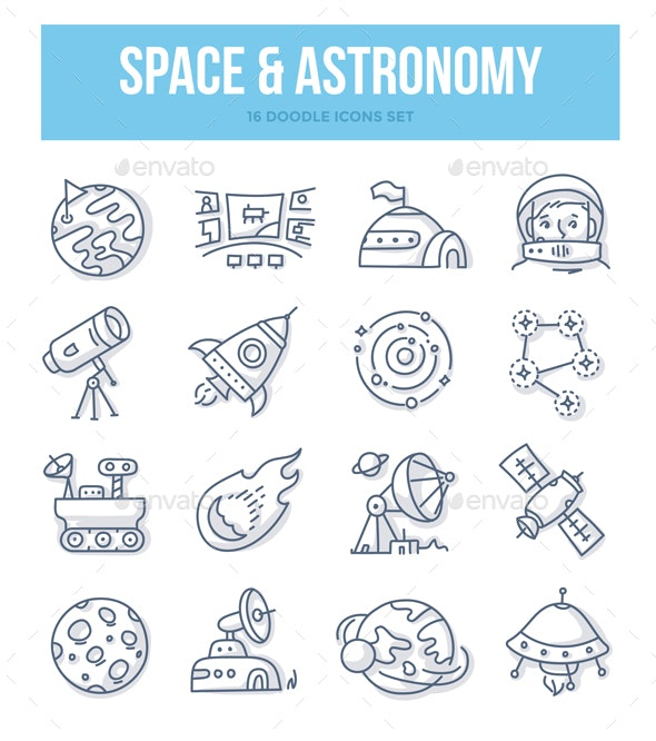 Space & Astronomy Doodle Concept - Miscellaneous Icons