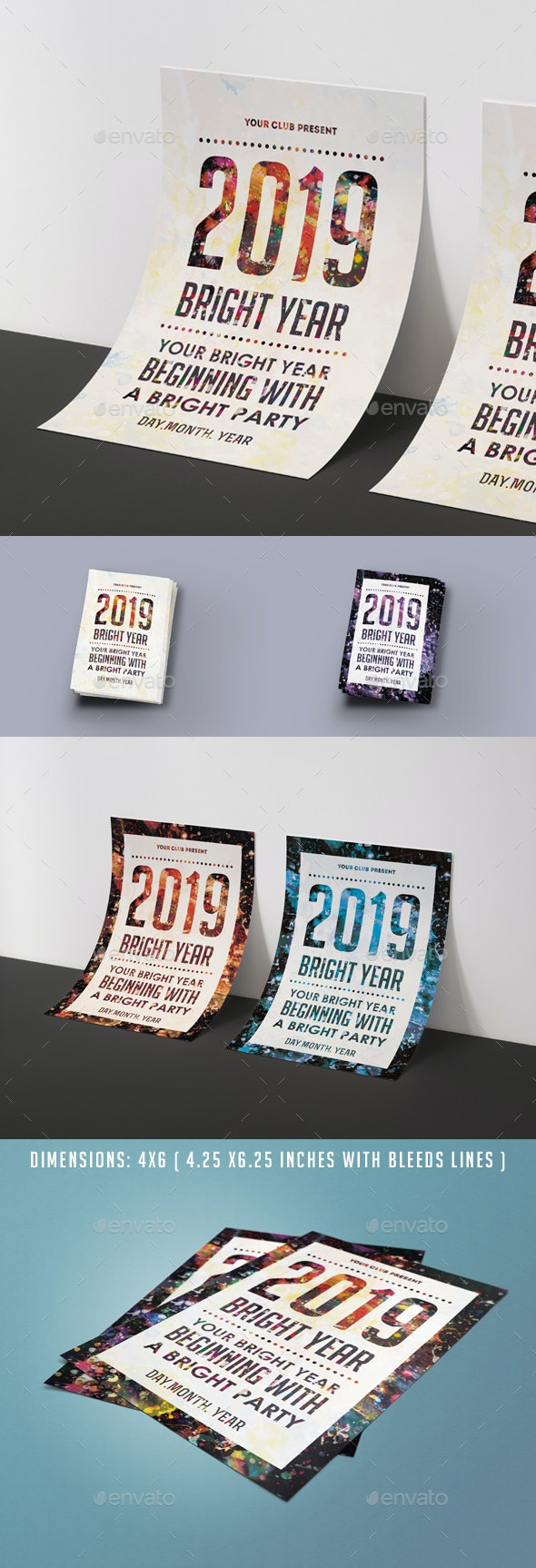 Bright Year Party Poster Flyer Template - Clubs & Parties Events