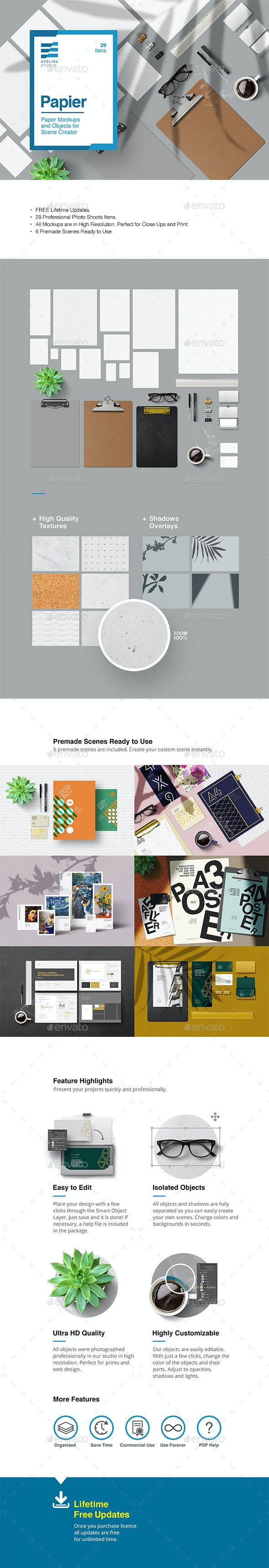 Papier - Stationery Mockups - Product Mock-Ups Graphics