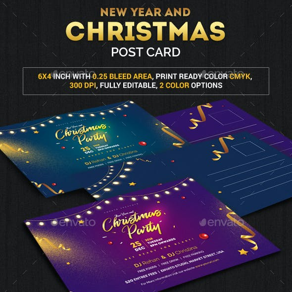 Christmas and New year Post Card