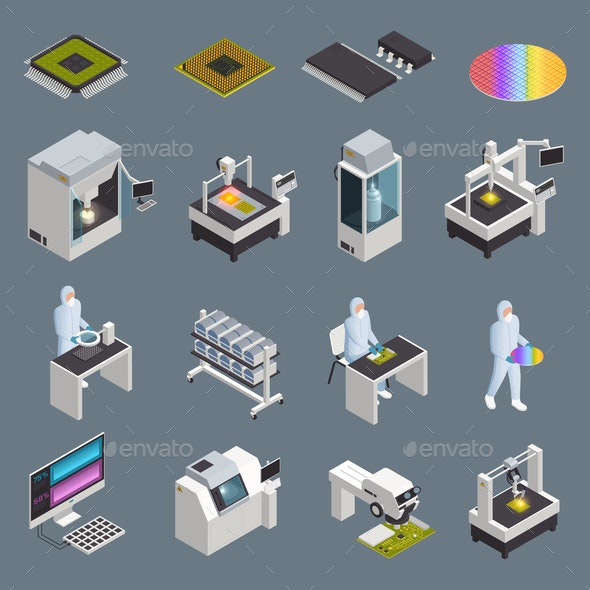 Chip Production Icon Set - Industries Business