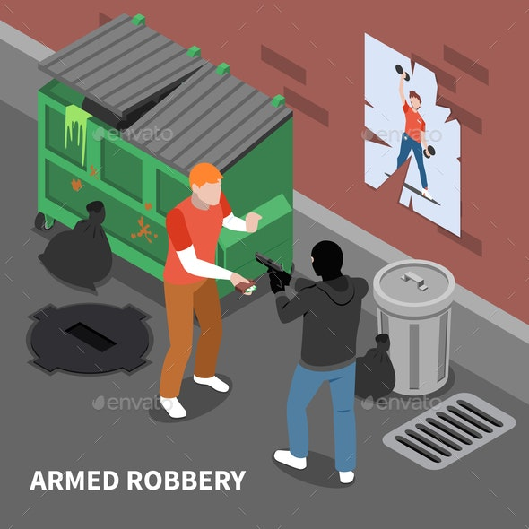 Armed Robbery Isometric Composition - Miscellaneous Conceptual