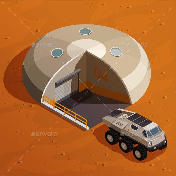 Mars Colonization Isometric Design Concept - Miscellaneous Vectors