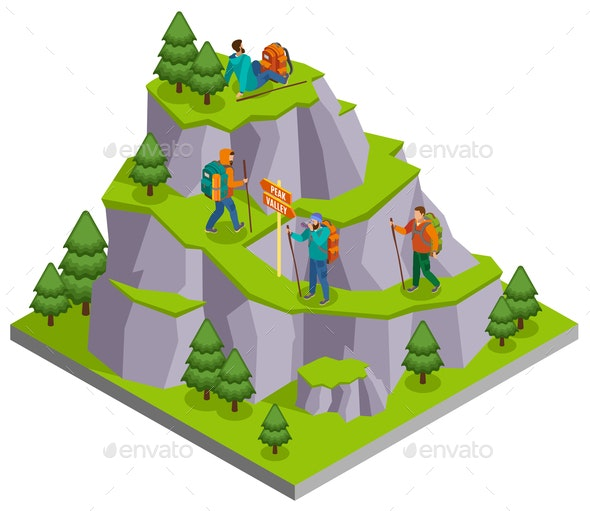 Mountain Tourist Trails Composition - Sports/Activity Conceptual
