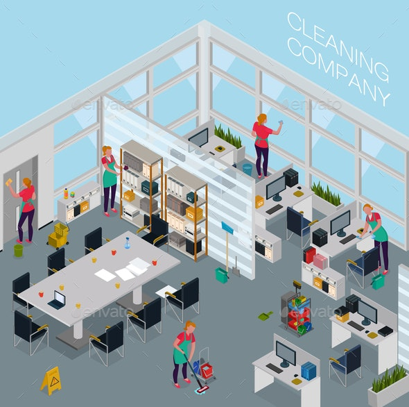 Cleaning Service Office Isometric Illustration - Backgrounds Business