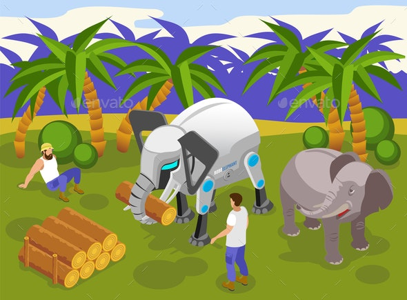 Animal Robots Isometric Composition - Animals Characters