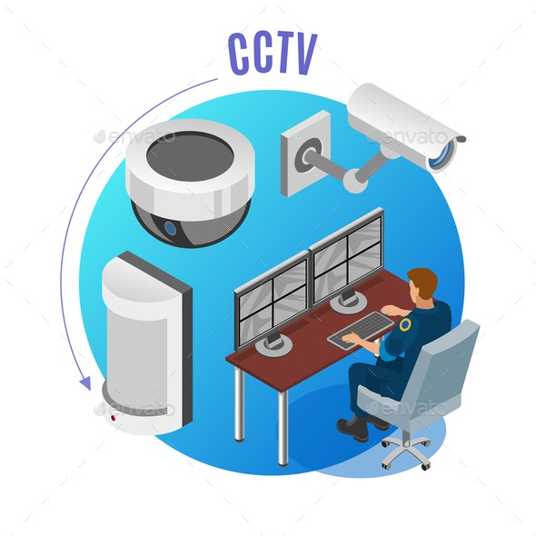 Security Systems Isometric Background - People Characters