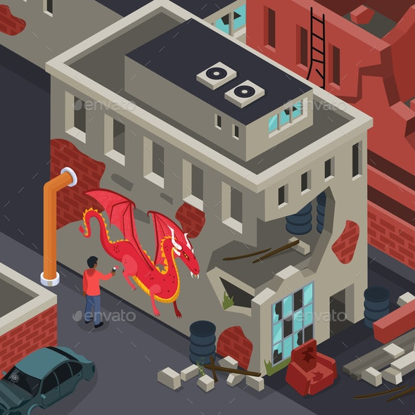 Graffiti Street Artist Isometric Composition - People Characters