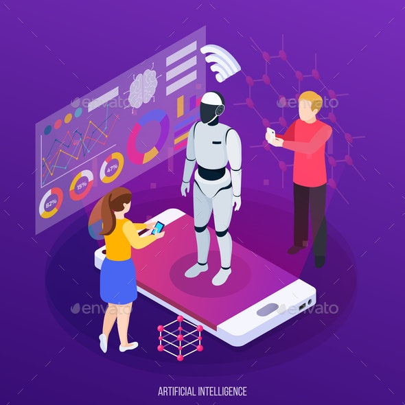 Artificial Intelligence Isometric Composition - People Characters