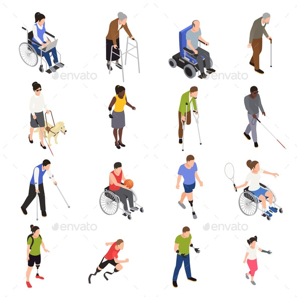 Disabled People Isometric Set - People Characters
