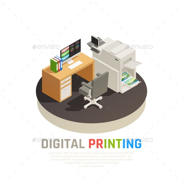 Printing House Isometric Composition - Concepts Business