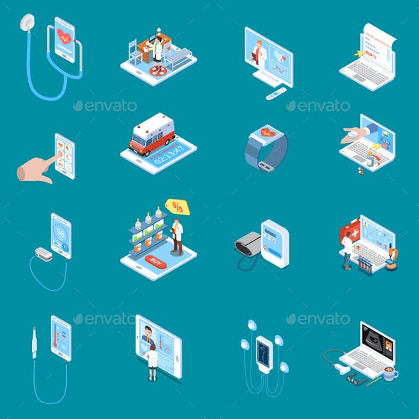 Digital Mobile Health Isometric Icons