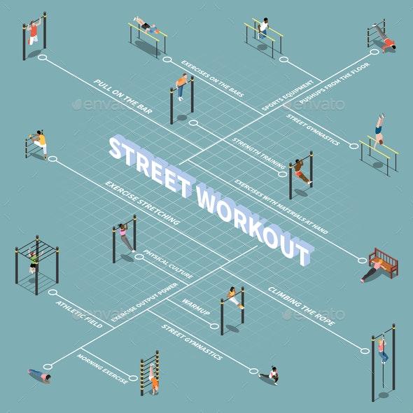 Street Workout Isometric Flowchart - Sports/Activity Conceptual
