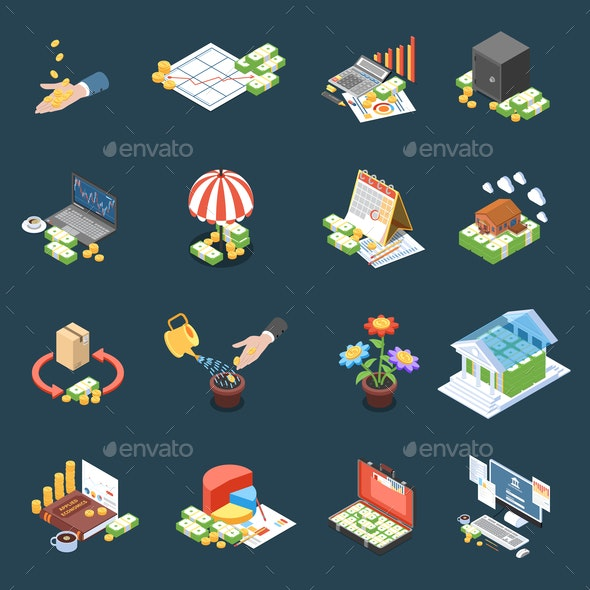 Wealth Management Isometric Icons - Industries Business