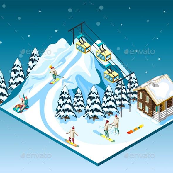 Ski Resort Isometric Composition