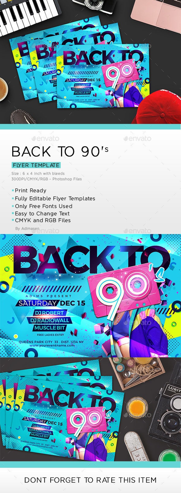 BACK TO 90's Flyer - Clubs & Parties Events