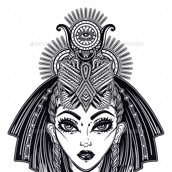 Egyptian Woman with Ritual Head Piece