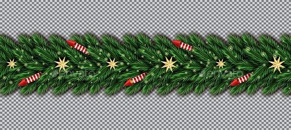 Border with Christmas Tree Branches - Christmas Seasons/Holidays
