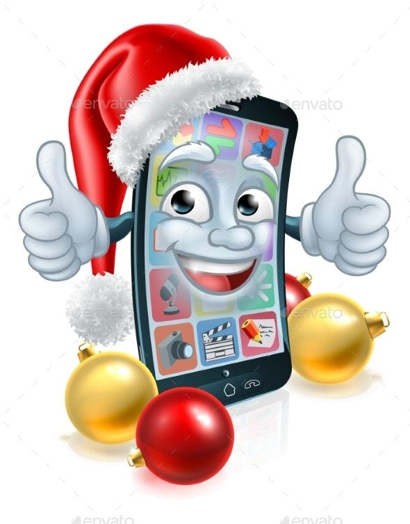 Christmas Cartoon Mobile Cell Phone in Santa Hat - Christmas Seasons/Holidays
