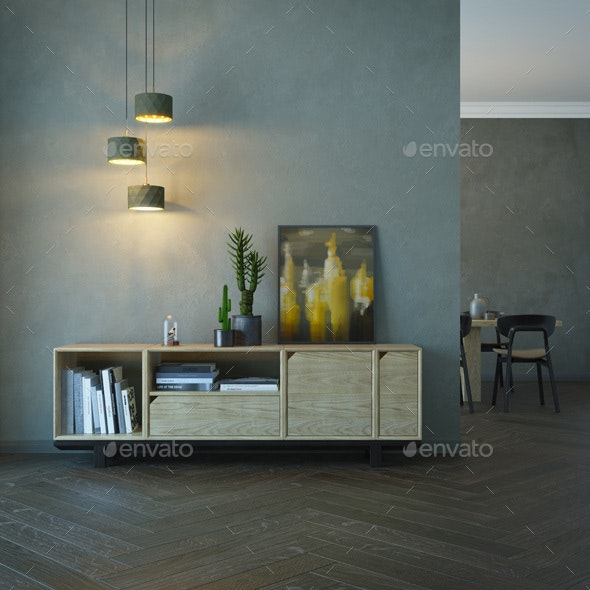 Living Room Interior with Wooden Sideboard - Architecture 3D Renders
