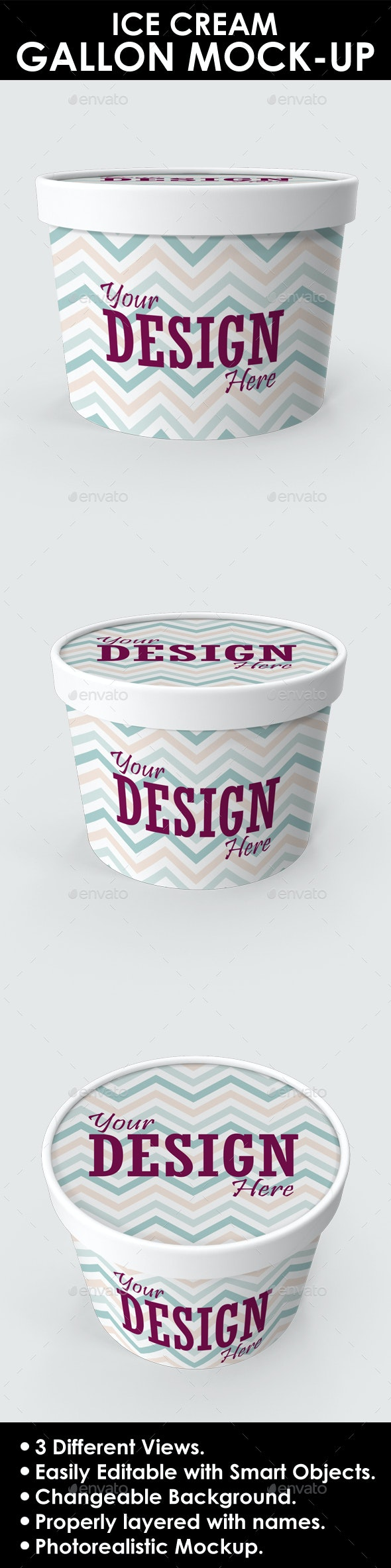 Ice Cream Gallon / Container PSD Mock-up - Product Mock-Ups Graphics