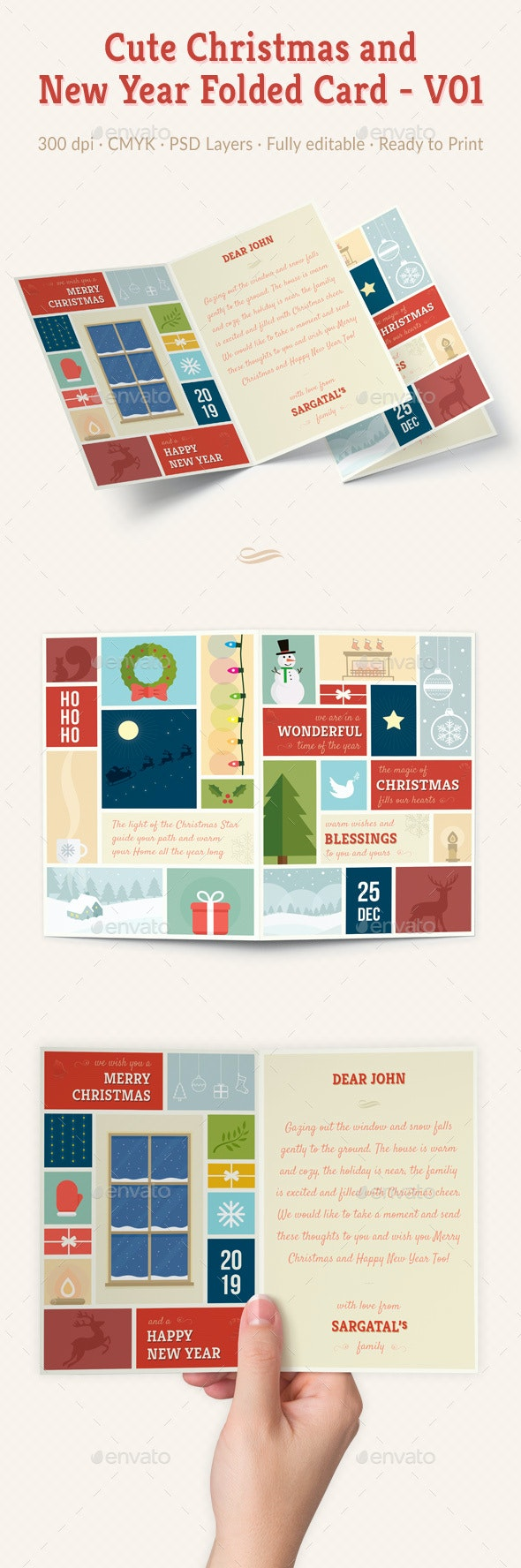 Cute Christmas and New Year Folded Card - V01 - Christmas Greeting Cards
