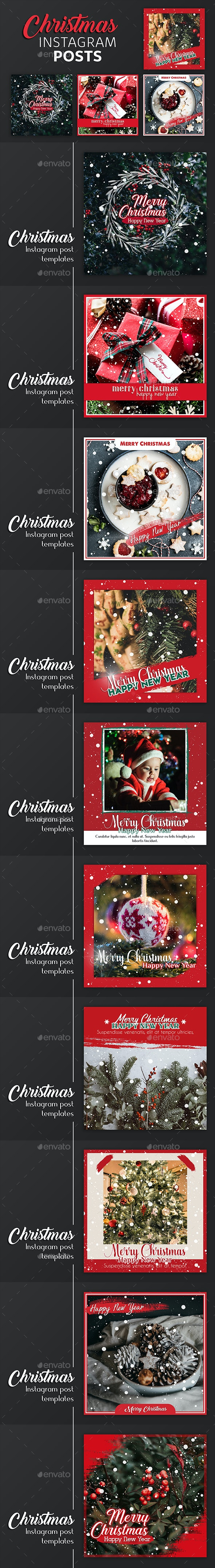 Christmas Instagram Post Templates - Social Media Web Elements