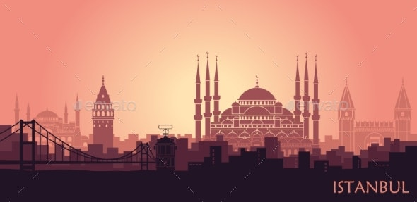 Landscape of the Turkish City of Istanbul - Buildings Objects